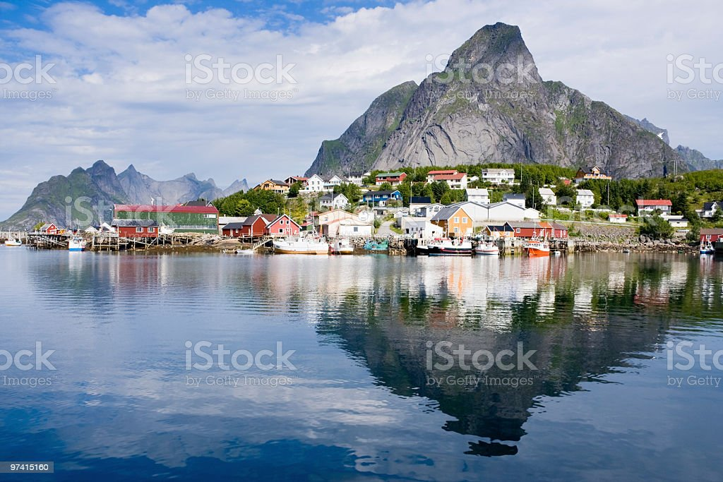 Gorgeous reflection of Lofoten stock photo