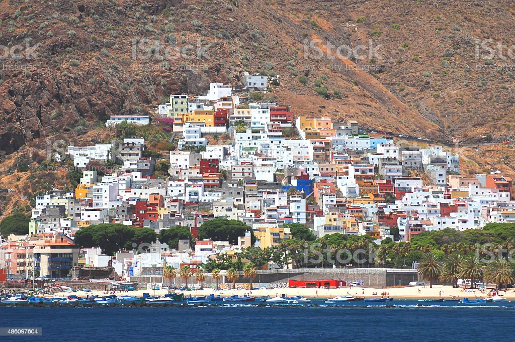 Gorgeous San Andres village and Teresitas beach on Tenerife island stock photo