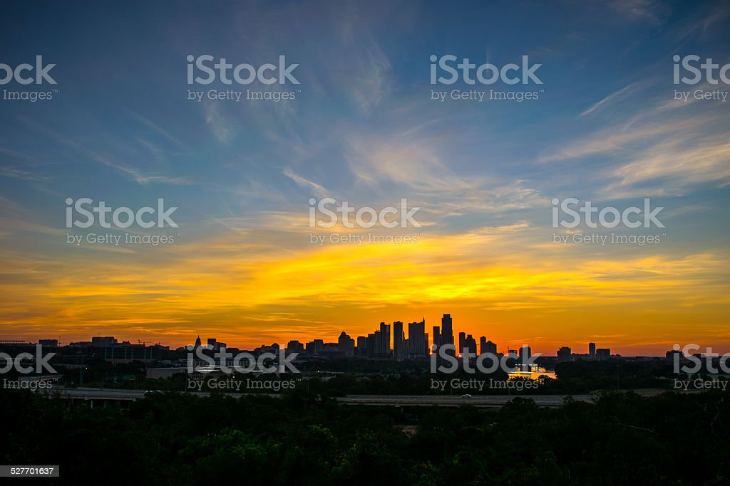Gorgeous Sunrise colors over Austin Texas Skyline stock photo