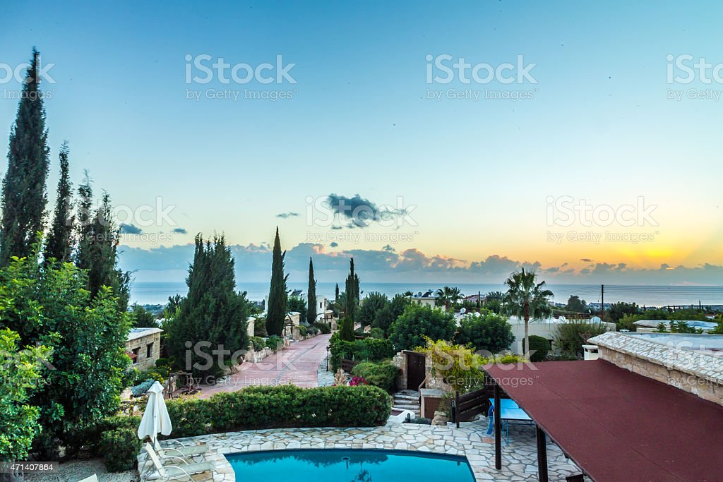 Gorgeous sunset and landscape in a village of Paphos, Cyprus stock photo