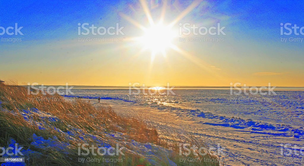 Gorgeous Sunset over Cape Cod Bay stock photo