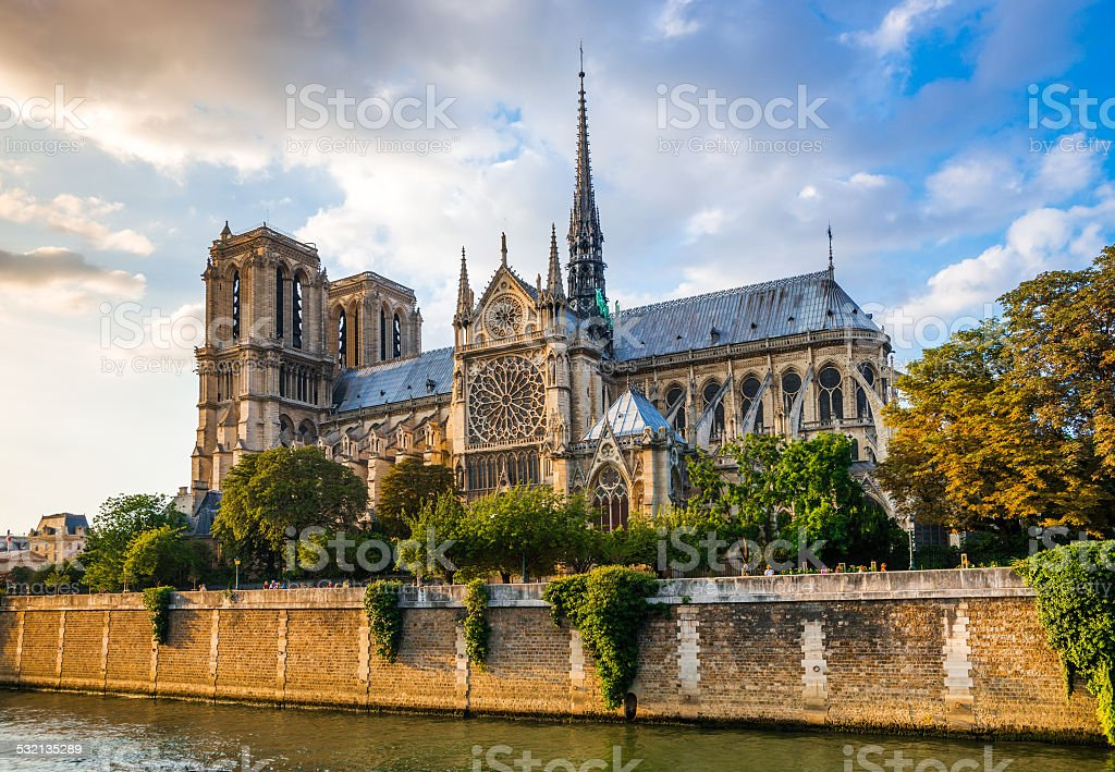 Gorgeous sunset over Notre Dame cathedral stock photo