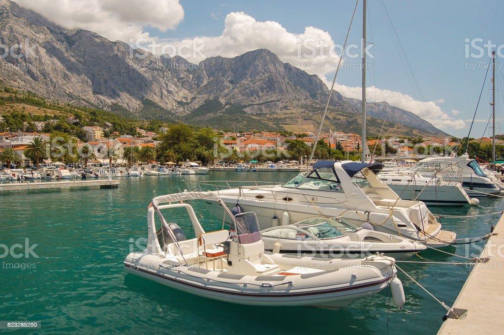 Gorgeous view of marina in dalmatian Baska Voda, Croatia stock photo