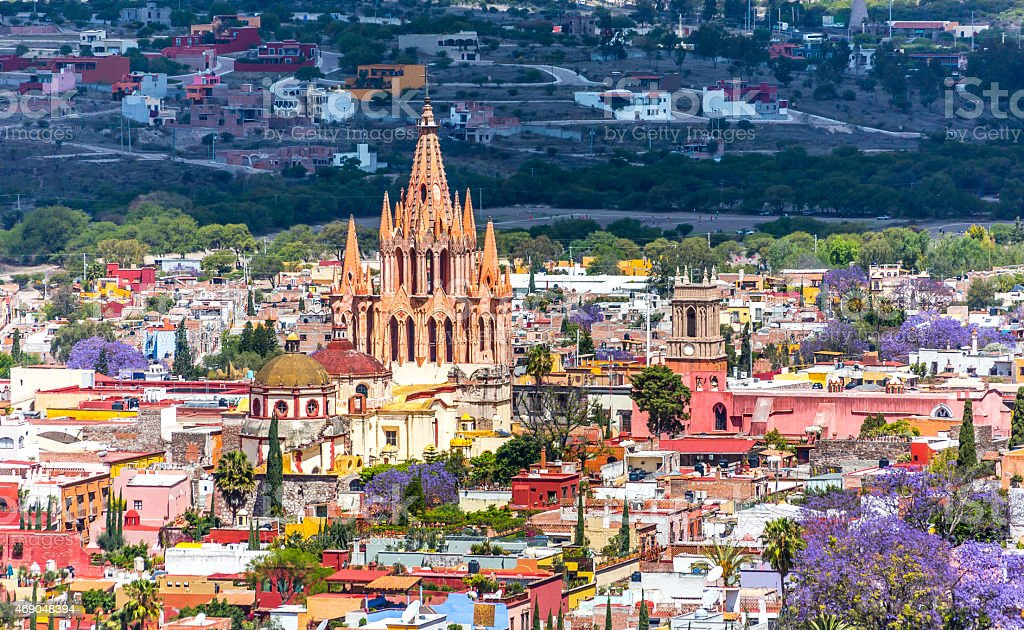 Gorgeous view of San Miguel de Allende in Mexico stock photo