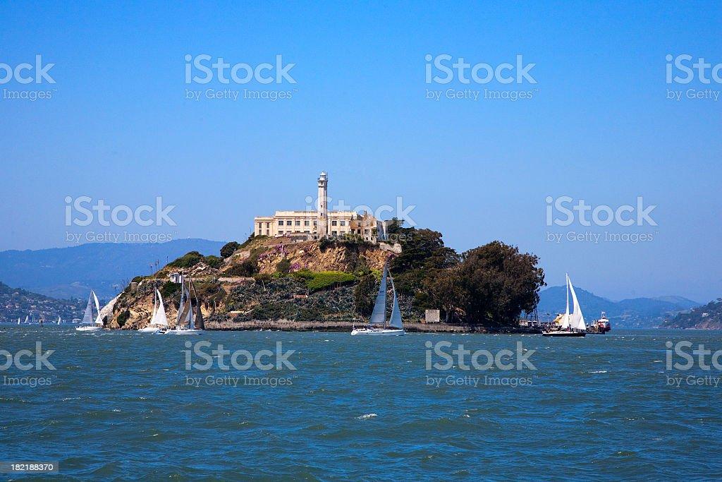 A gorgeous view of the ocean around Alcatraz island stock photo