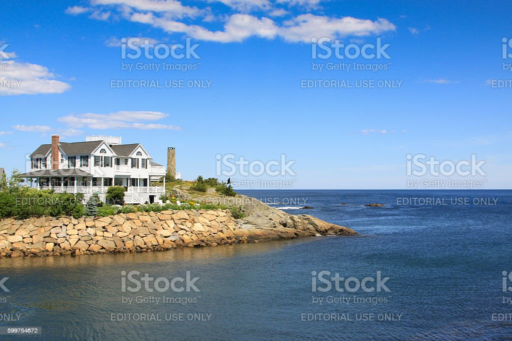 Gorgeous Waterfront House and Rocky Shore, Perkins Cove, Ogunquit, Maine. stock photo