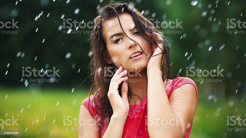 Gorgeous woman in drops rain royalty-free stock photo