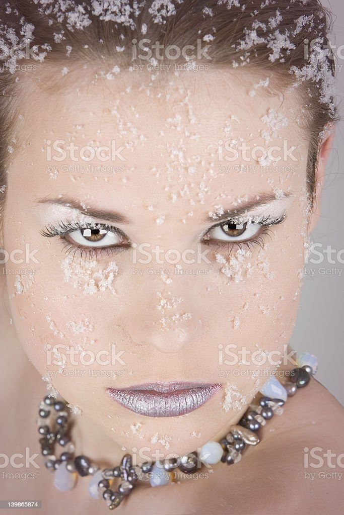 Gorgeous woman looking straight into the camera stock photo