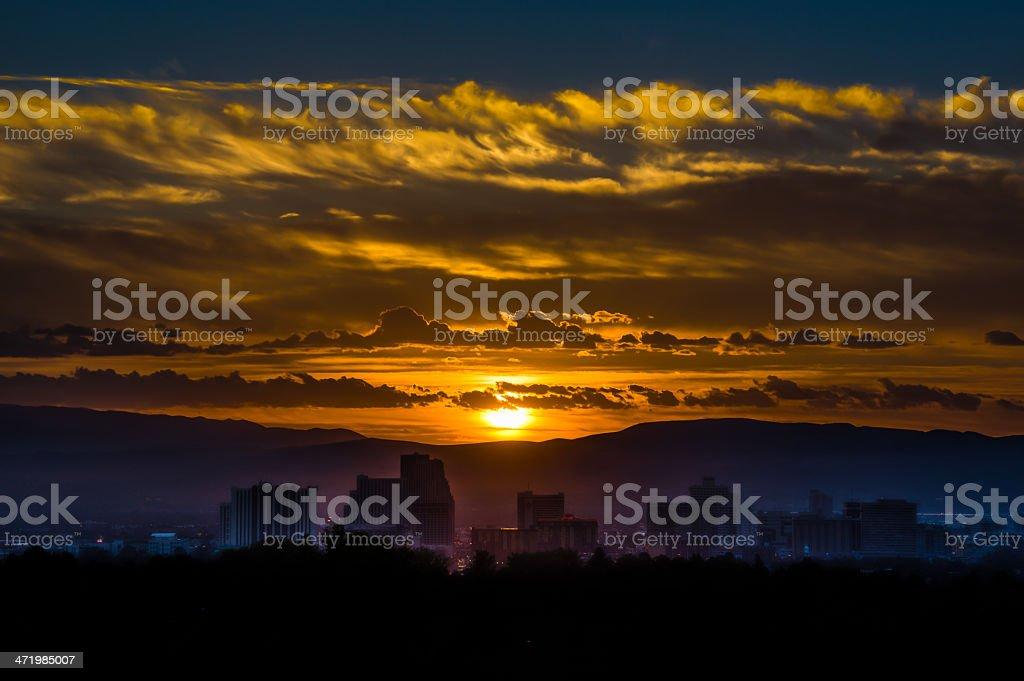 Gorgeous yellow sunrise silhouette stock photo
