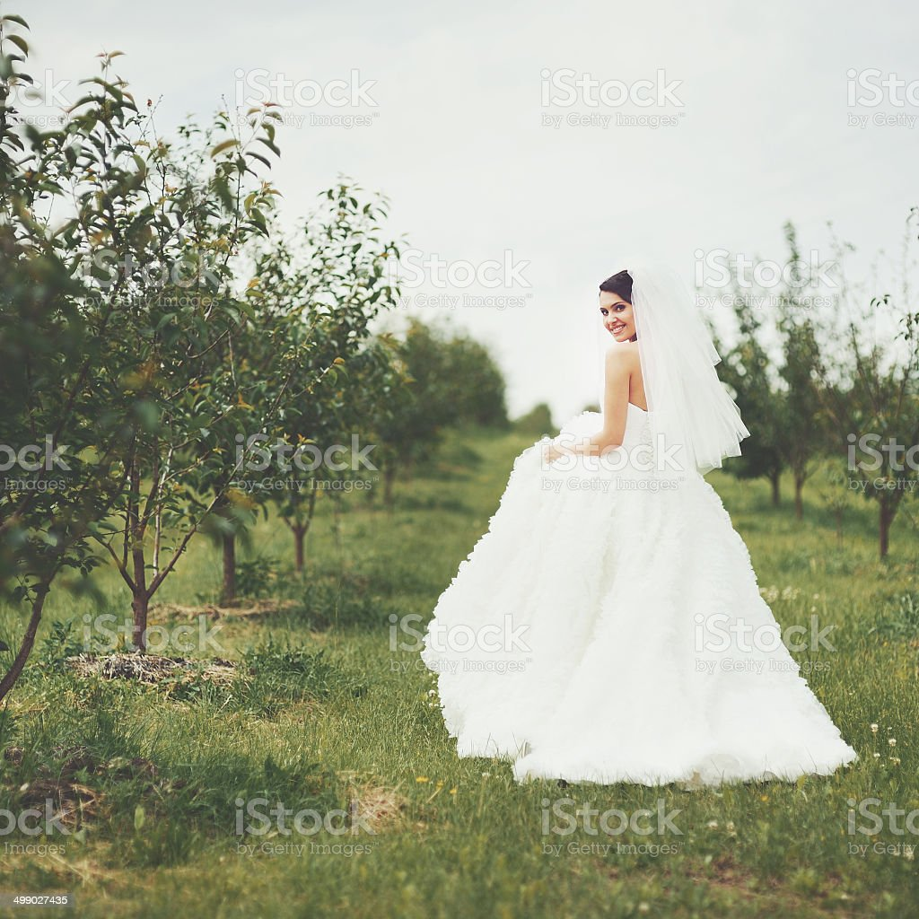 Gorgeous  young bride enjoying wedding day. stock photo