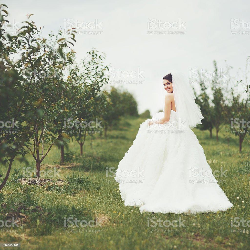 Gorgeous  young bride enjoying wedding day. stock photo