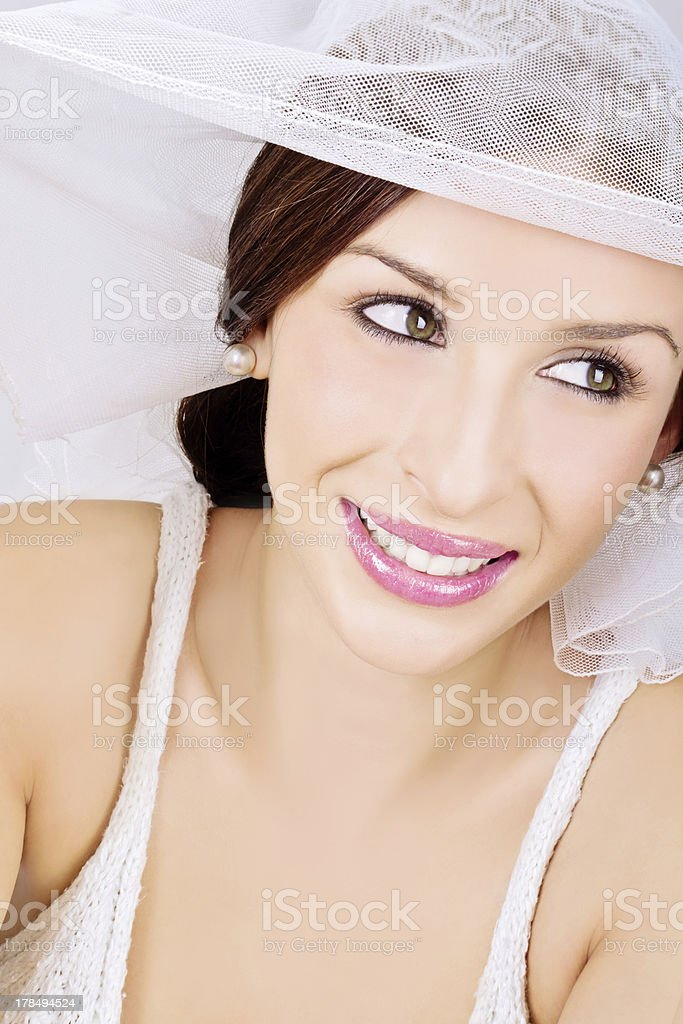 Gorgeous young bride smiling royalty-free stock photo