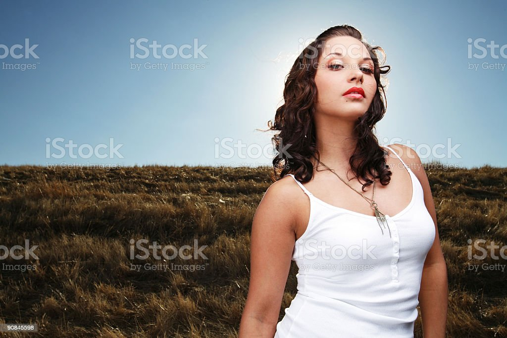 Gorgeous Young Brunette Woman in Field royalty-free stock photo