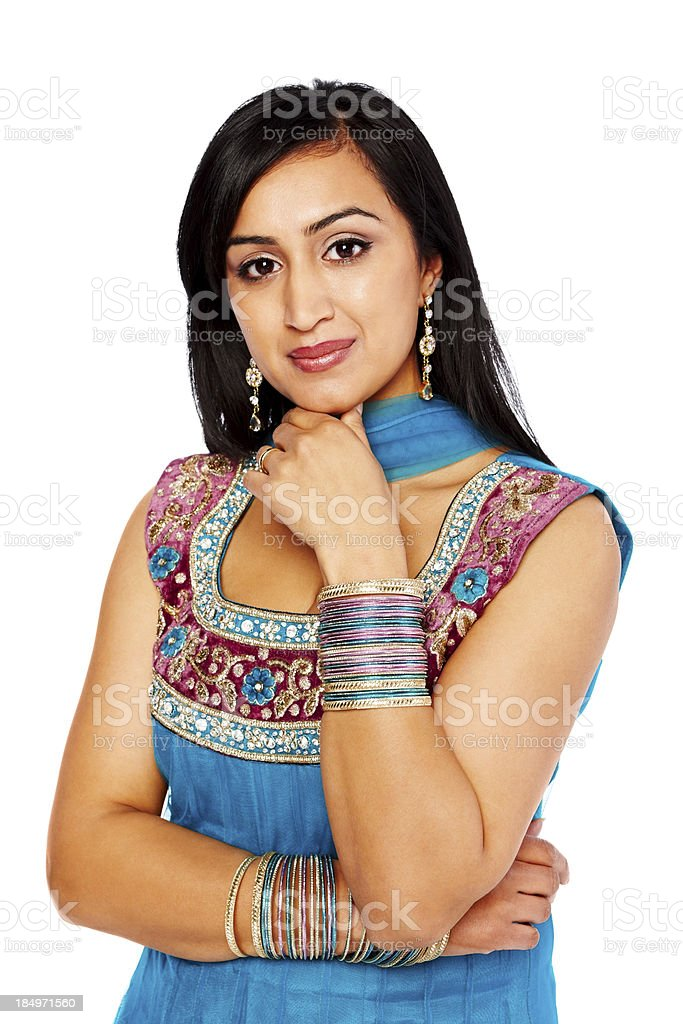 Gorgeous young Indian lady looking at you stock photo