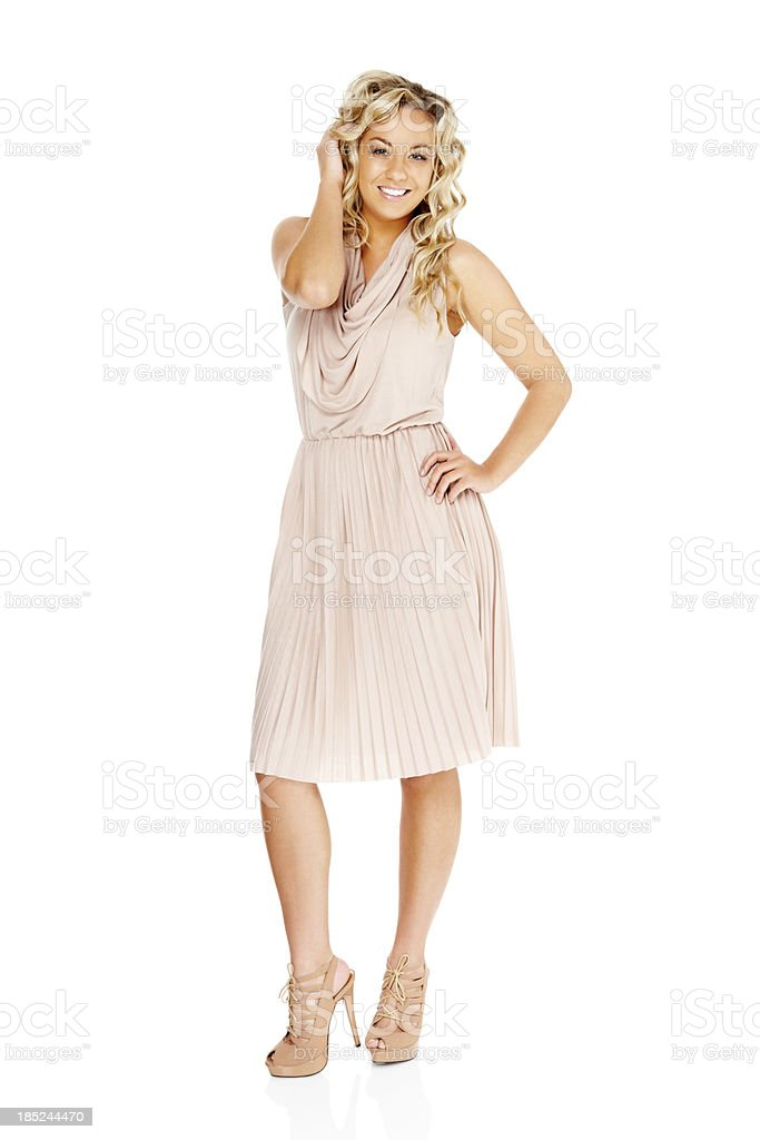Gorgeous young woman posing on white background stock photo