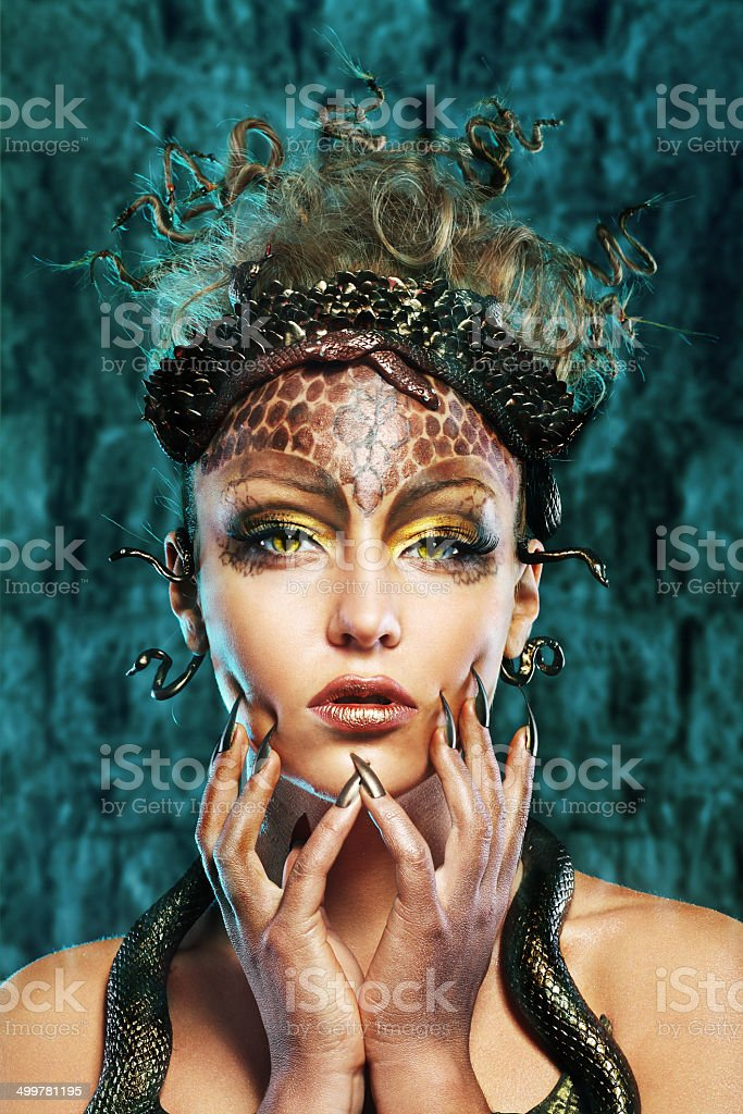Gorgon girl in dungeon stock photo