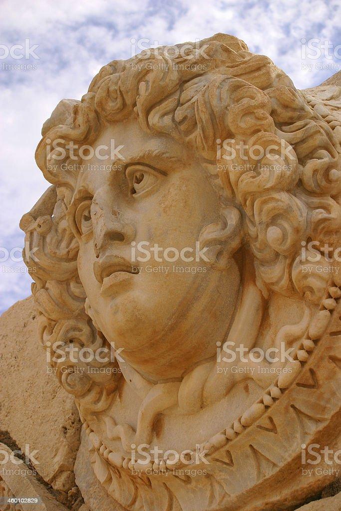 Gorgon head - Leptis Magna, Libya. stock photo