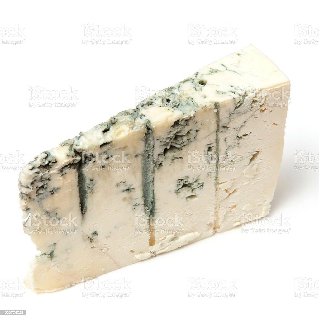 Gorgonzola Italian cheese isolated on a white studio background. stock photo