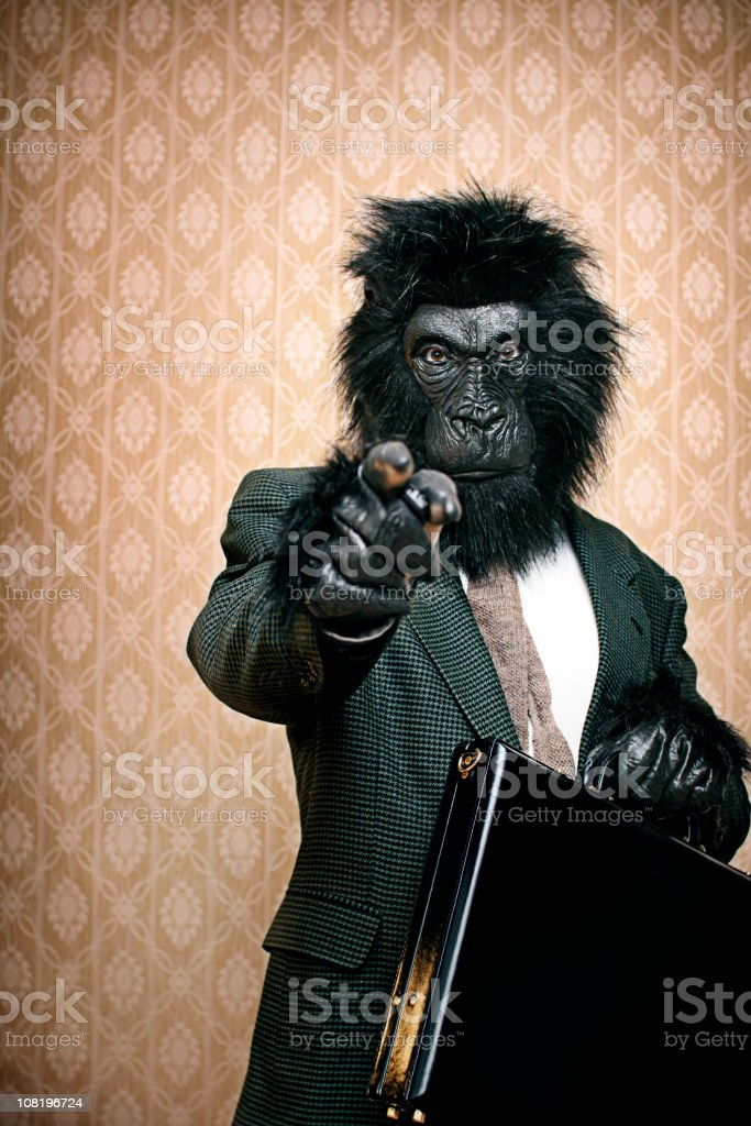Gorilla In A Business Suit With Briefcase royalty-free stock photo