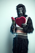 Gorilla Man with Valentines Day Gifts