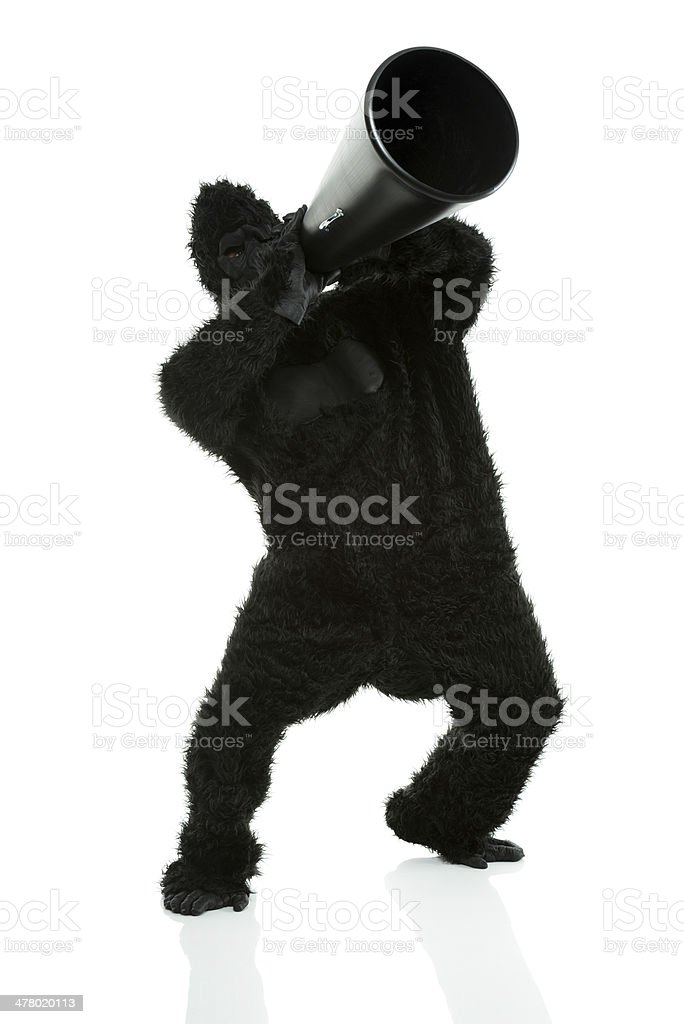 Gorilla shouting into a bullhorn royalty-free stock photo