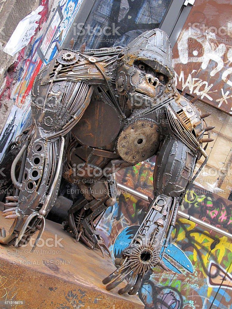 Gorilla Statue of metal in Oranienburger Strasse Central Berlin stock photo