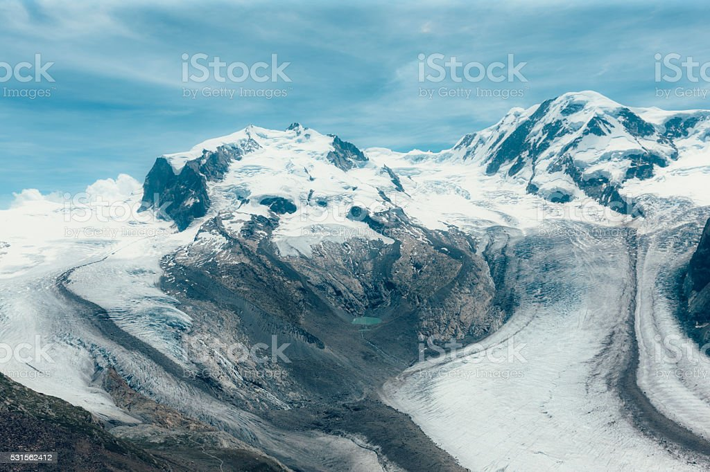 Gorner glacier, Switzerland stock photo