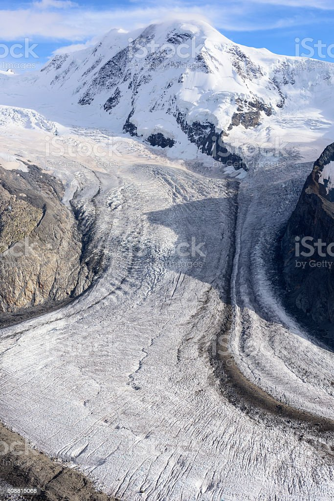 Gornergletscher, Grenzgletscher, Lyskamm stock photo