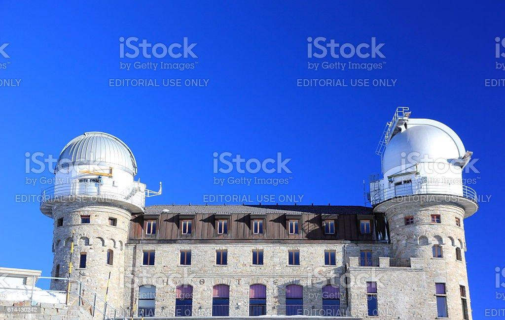 Gornergrat infrared telescope. The Alps, Switzerland. stock photo