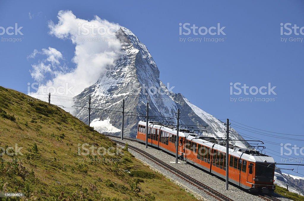 Gornergrat train and Matterhorn mountain. Switzerland Alps stock photo