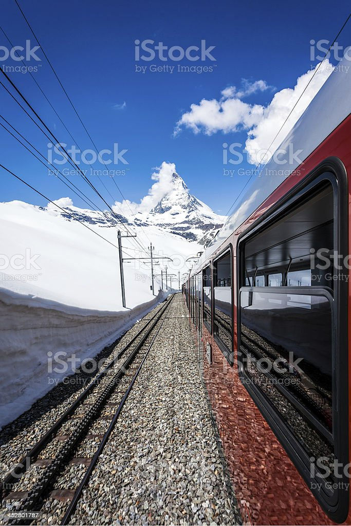 Gornergrat Train and Matterhorn Mountain, Switzerland stock photo