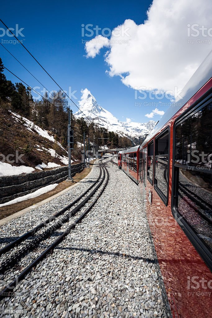 Gornergrat Train and Matterhorn Mountain, Switzerland royalty-free stock photo