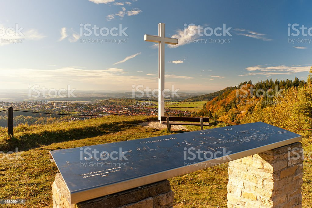 Viewing platform in the autumn - Germany stock photo