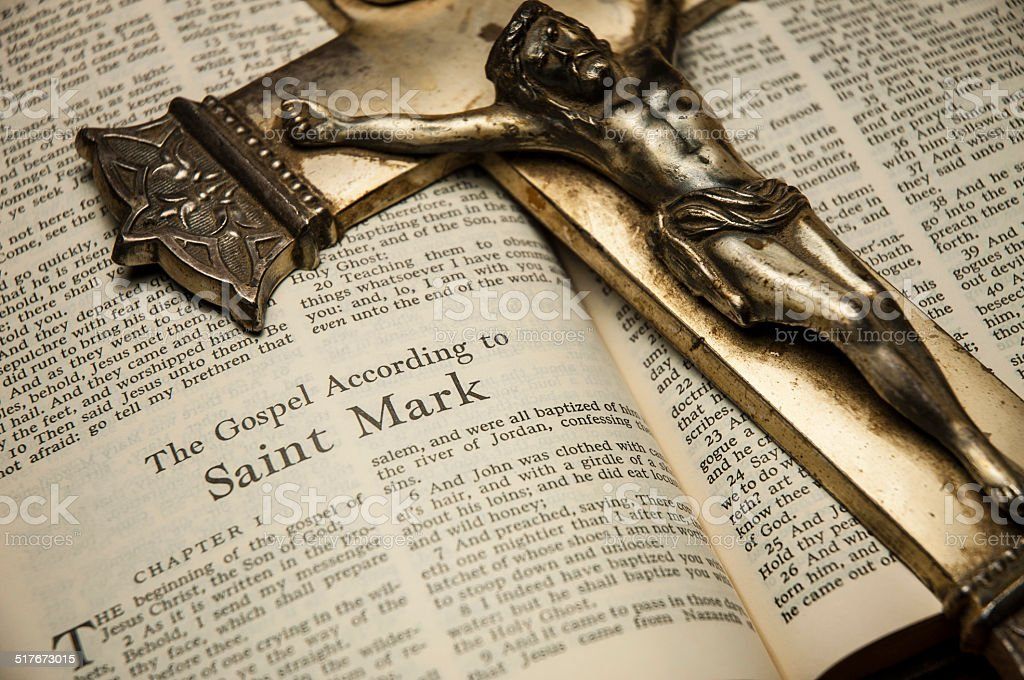Gospel According To St Mark Bible Crucifix stock photo