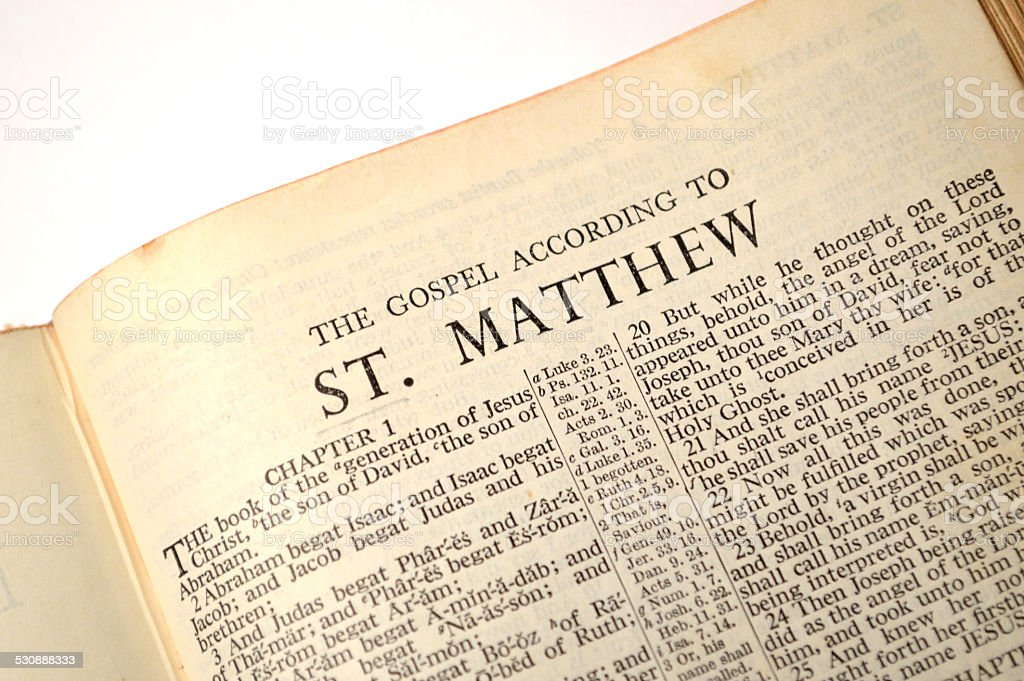 Gospel of Matthew, in King James version Bible stock photo