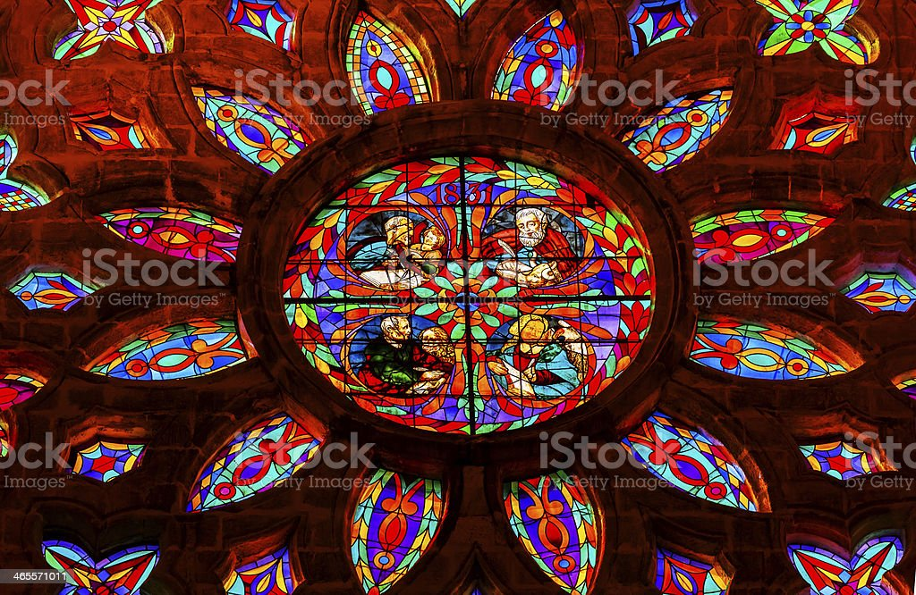 Gospel Writers Stained Glass Rose Window Seville Cathedral Spain royalty-free stock photo