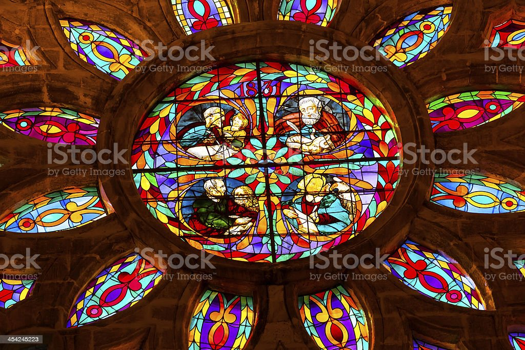 Gospel Writers Stained Glass Seville Cathedral Spain royalty-free stock photo