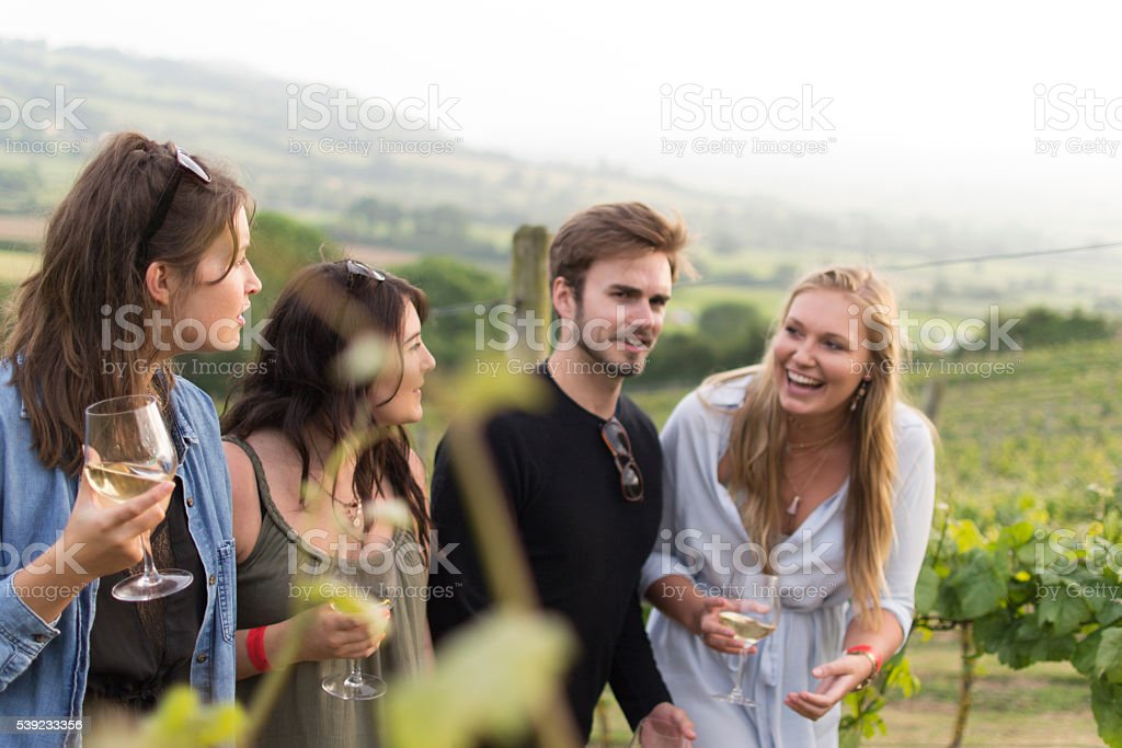 Gossip amongst the vines stock photo
