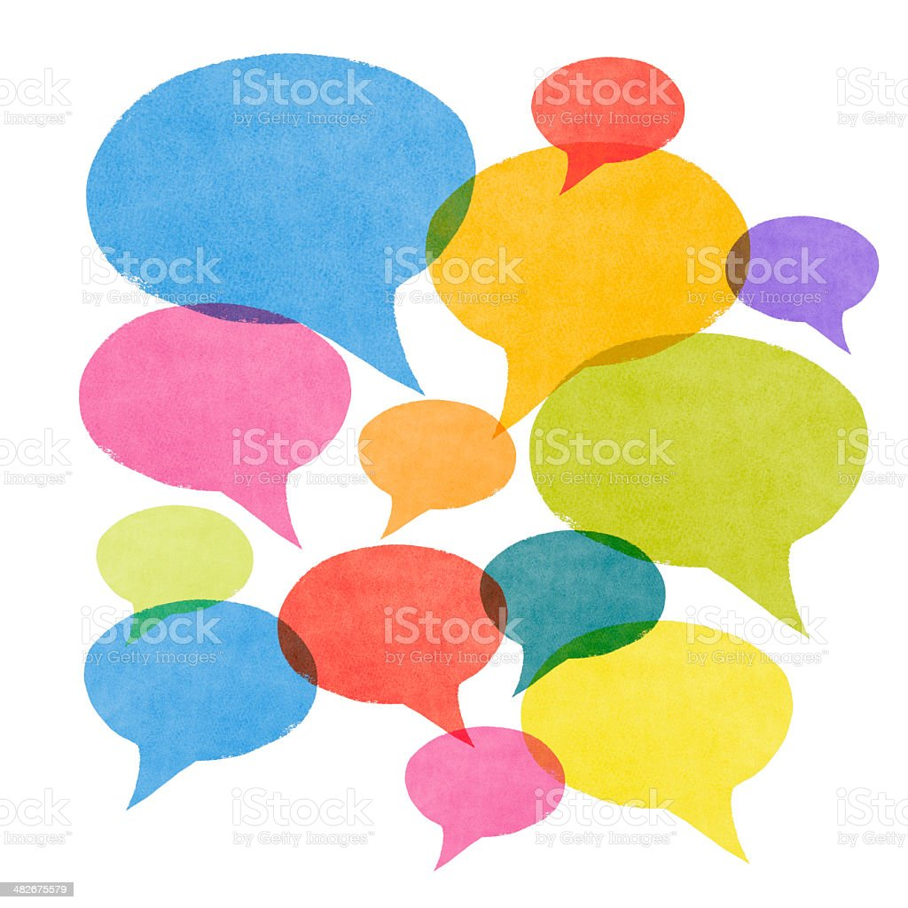 Gossip Concept - Abstract Watercolor Painted Speech Bubbles stock photo