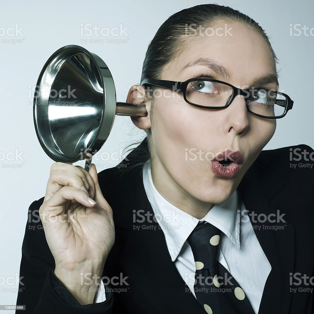gossip girl curiosity woman spying curious hearing aid royalty-free stock photo