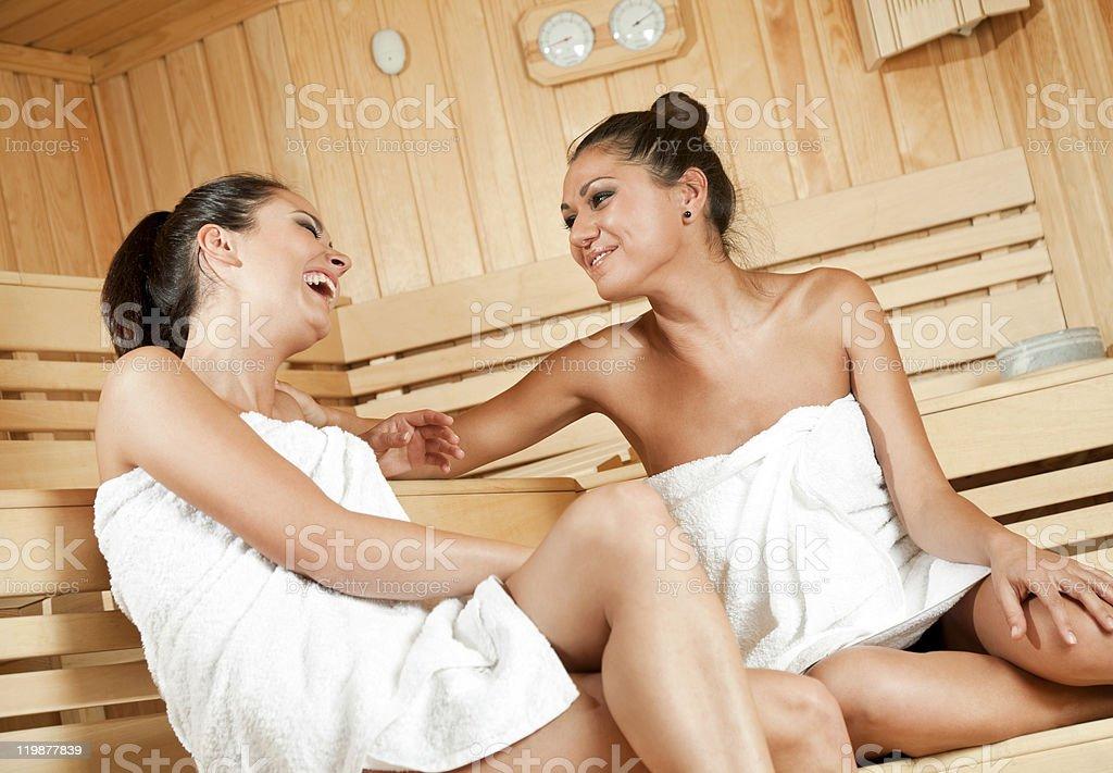 gossip in sauna stock photo