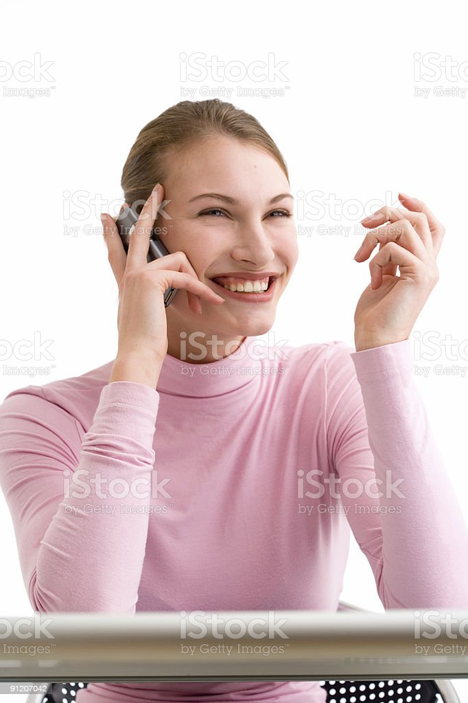 gossip women talking on mobile phone & laughing royalty-free stock photo