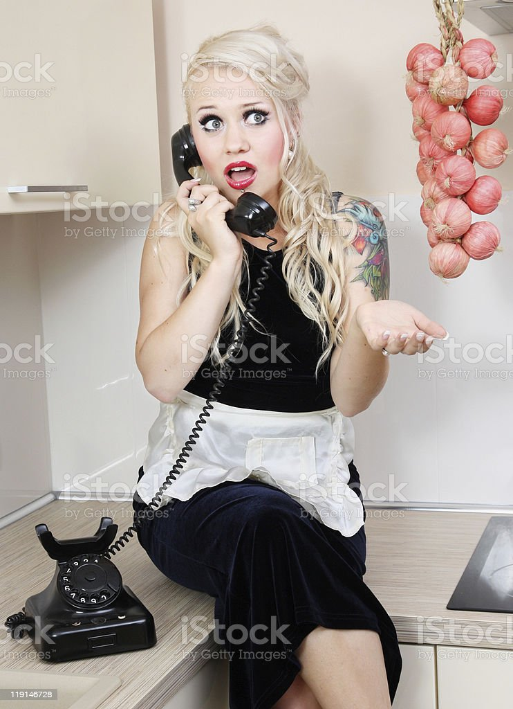 Gossiping housewife royalty-free stock photo