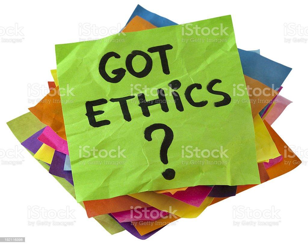 Got ethics? stock photo
