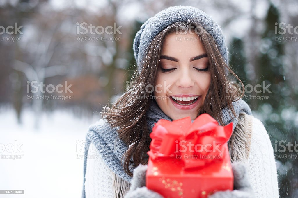 I got the best present in the world stock photo