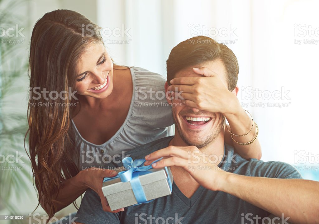 I got you something, honey stock photo