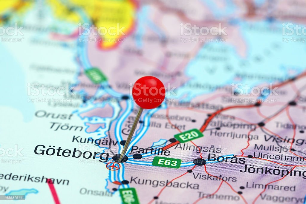 Goteborg pinned on a map of europe stock photo