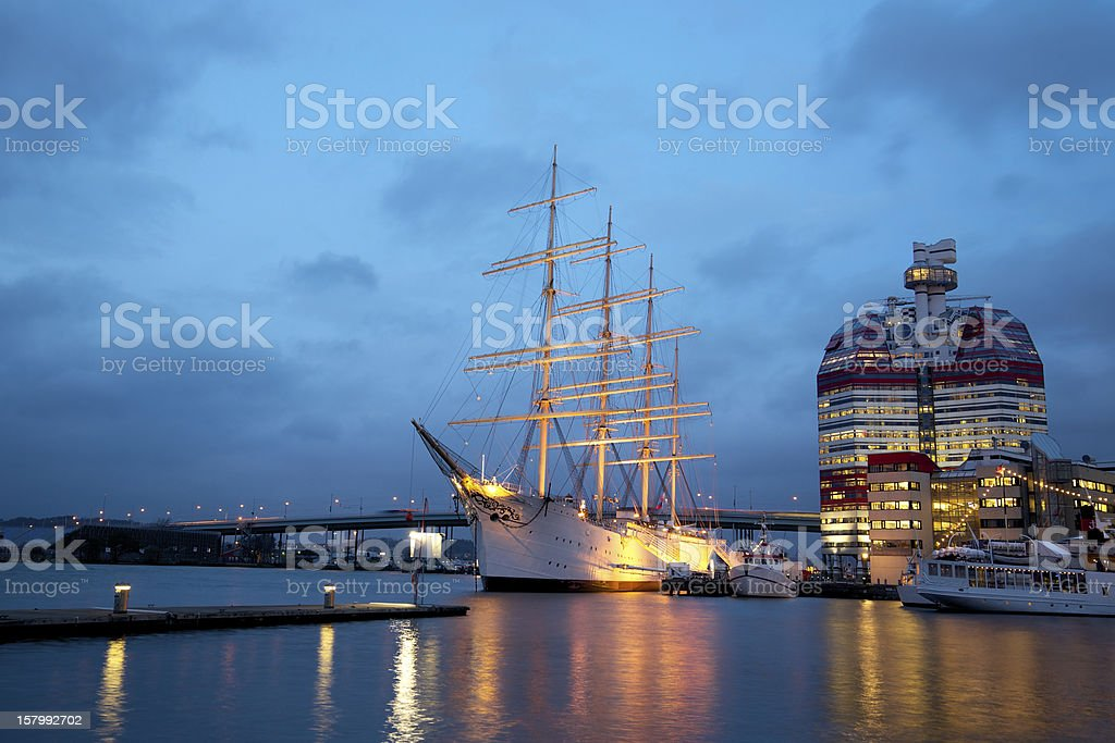 Gothenburg harbour at dusk royalty-free stock photo