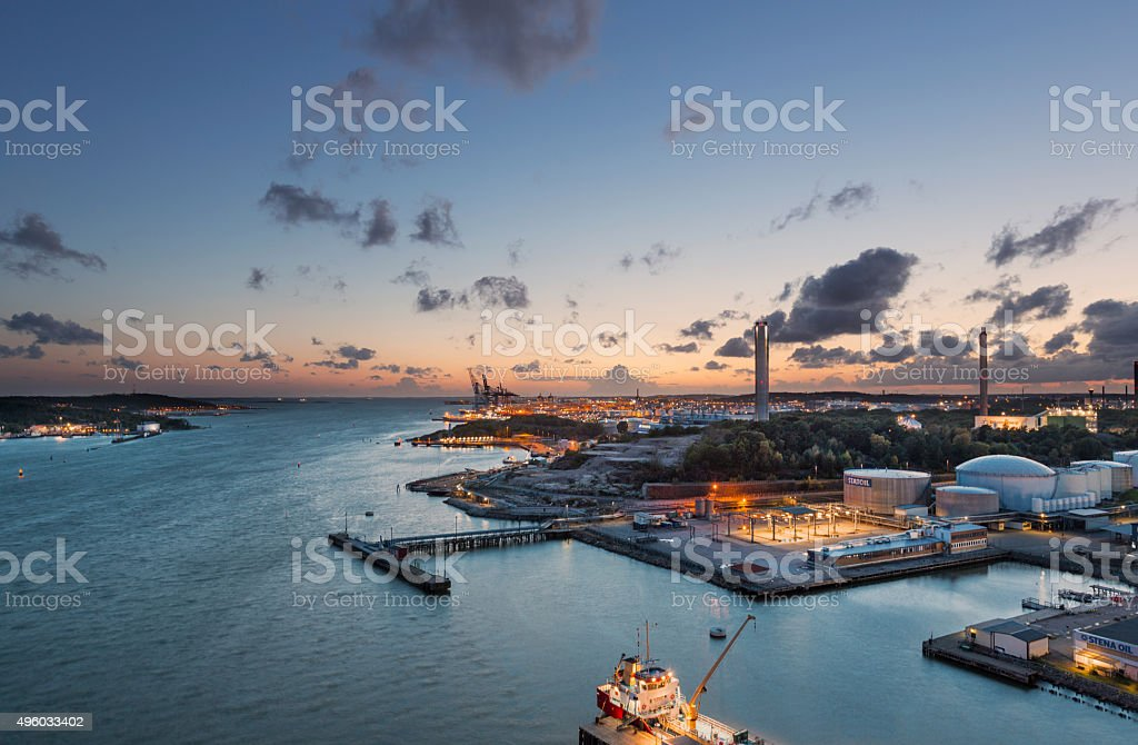 Gothenburg harbour during sunset stock photo
