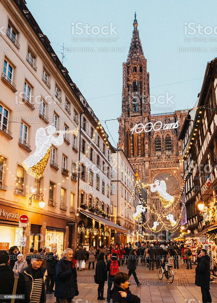 Gothic architecture Christmas Market Strasbourg Notre-Dame cathedral stock photo